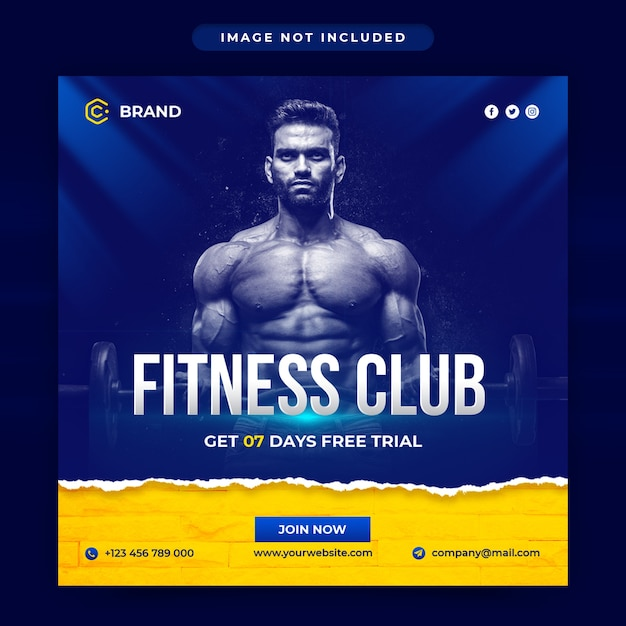 Gym en fitness instagram-banner of postsjabloon voor sociale media Premium Psd