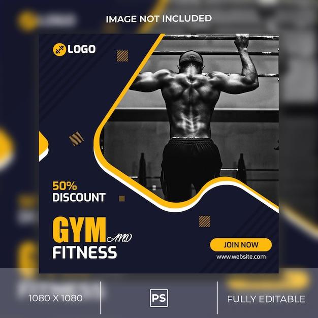 Gym en fitness instagram-post of vierkante banner Premium Psd