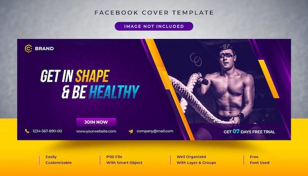 Gym en fitness promotionele facebook-omslag en webbannermalplaatje Premium Psd