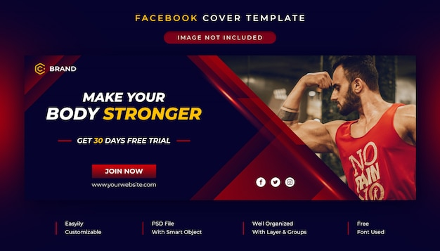 Gym en fitness social media post en facebook voorbladsjabloon Premium Psd
