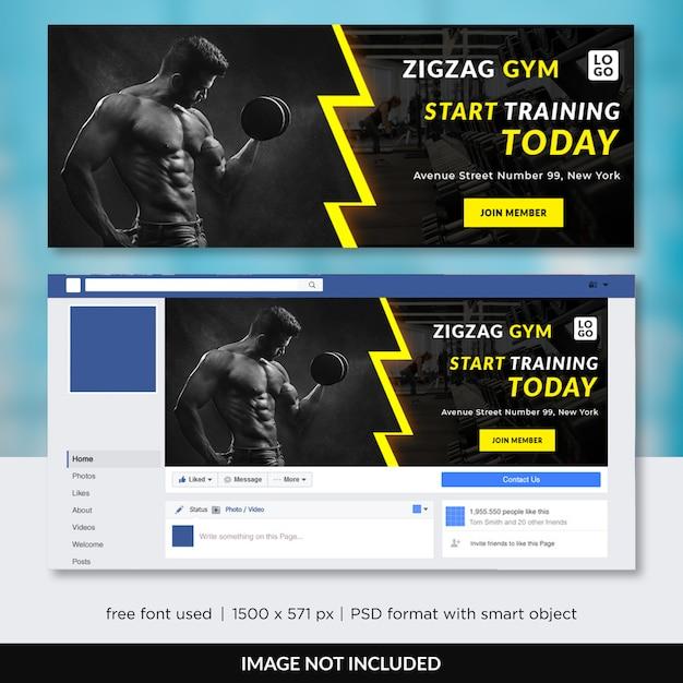 Gym fitness facebook tijdlijn voorbladsjabloon Premium Psd