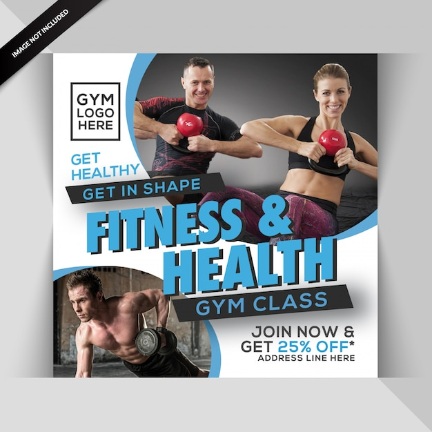Gym fitness instagram post of vierkante flyer sjabloon Premium Psd