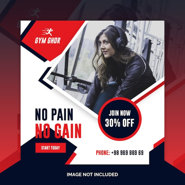 Gym fitness sociale media web banners psd sjabloon Premium Psd