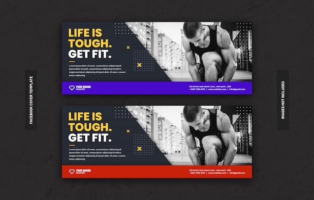 Gym fitness trainingscentrum sjabloon voor sociale media plaatsen op facebook voorblad Premium Psd