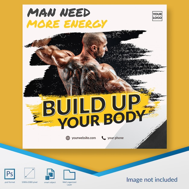 Gym lid open lid registratie aanbieding sociale media post sjabloon banner Premium Psd