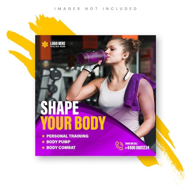 Gym-promotie, vierkant formaat voor instagram-advertentie Premium Psd