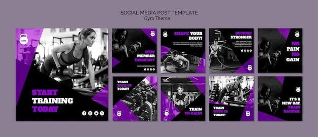 Gym thema concept sociale media postsjabloon Gratis Psd