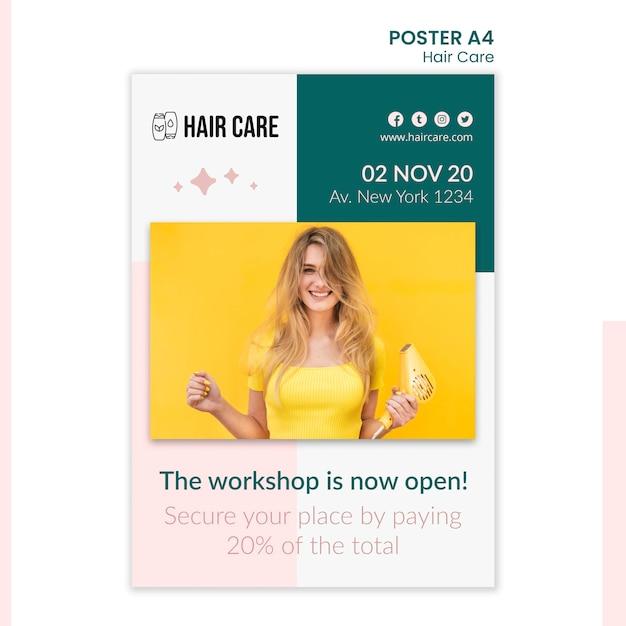 Haarverzorging advies poster sjabloonontwerp Premium Psd