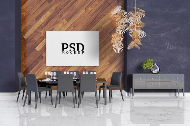 Habitación con detalles en madera y marcos. PSD Premium