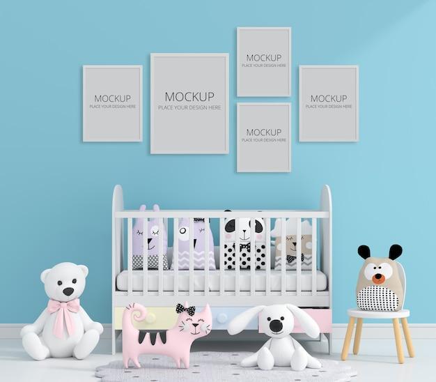 Habitación infantil azul con maqueta de marco PSD gratuito