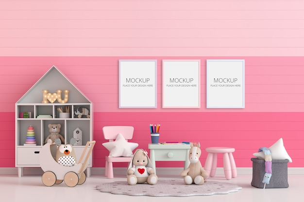 Habitación infantil rosa con maqueta de marco PSD gratuito
