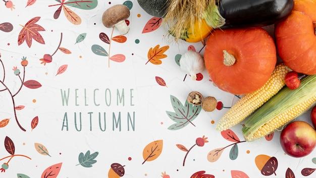 Hallo herfst groettekst met groenten Gratis Psd