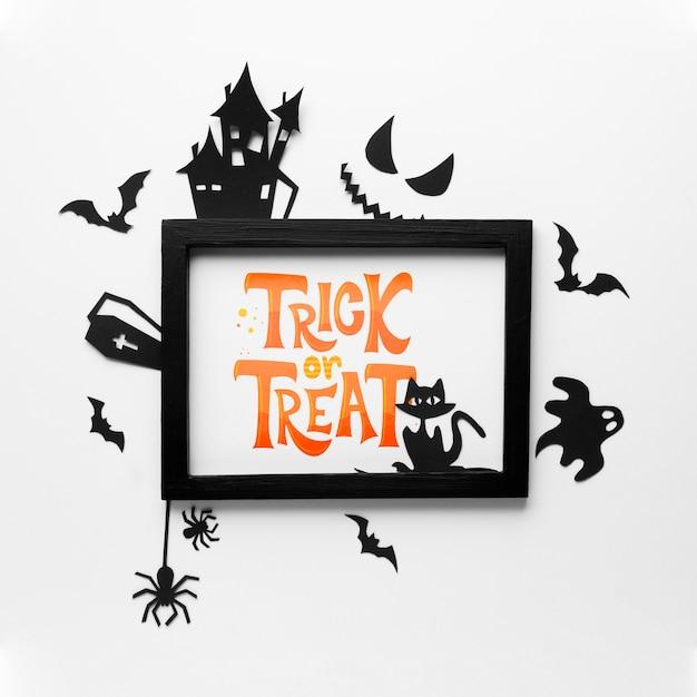 Halloween-dag met trick or treat-bericht Gratis Psd