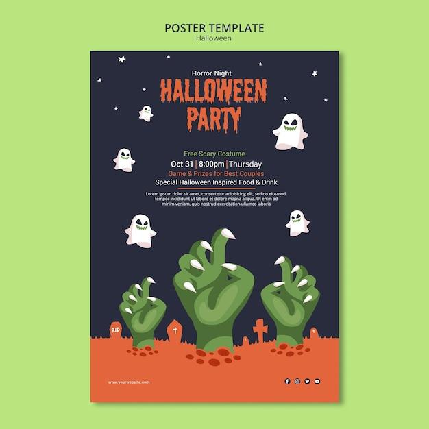Halloween-feest op zombie poster sjabloon Gratis Psd