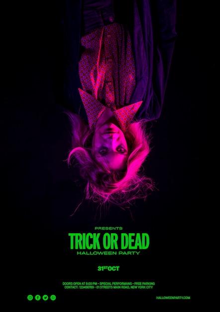 Halloween-fotoshoot van een vrouw met enge effecten Gratis Psd