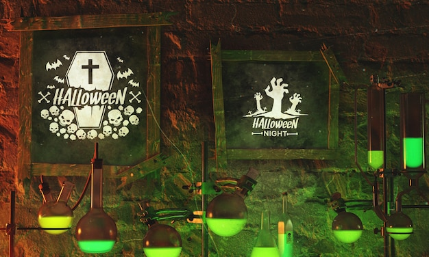 Halloween-kader met neonlicht op steenachtergrond Gratis Psd