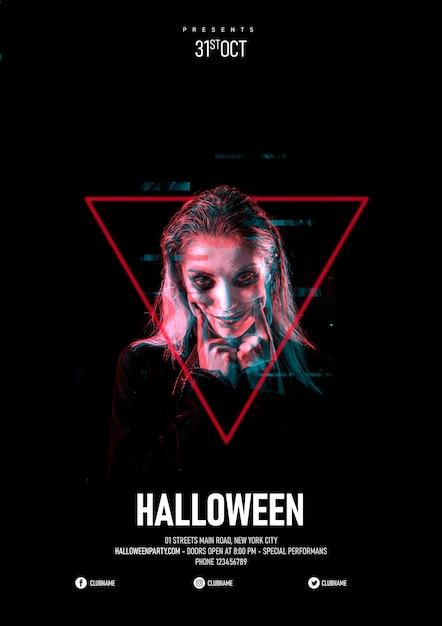 Halloween-make-upvrouw in een driehoek en glitch effect Gratis Psd