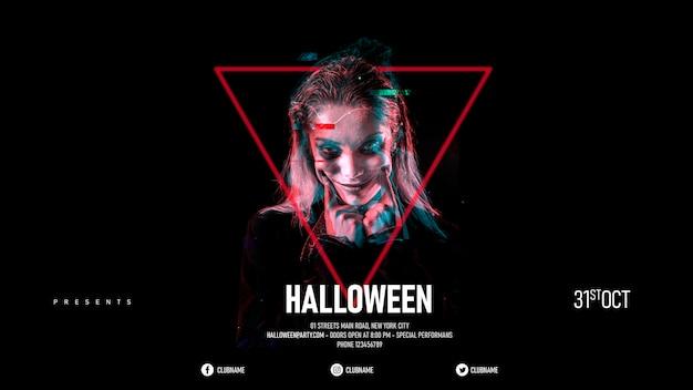 Halloween-make-upvrouw in een driehoek Gratis Psd