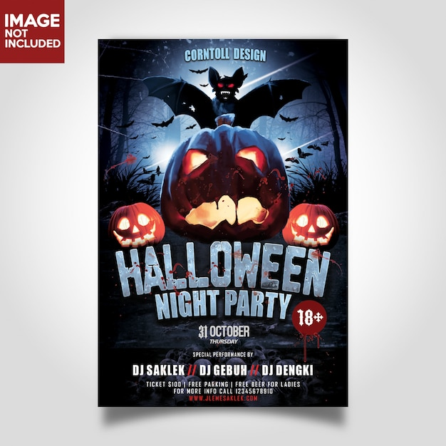Halloween nachtpartijen sjabloonvlieger Premium Psd
