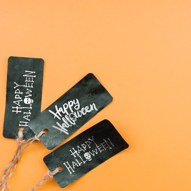 Halloween nero etichetta mockup di halloween Psd Gratuite