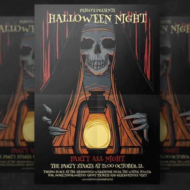 Halloween-partij flyer-sjabloon Gratis Psd