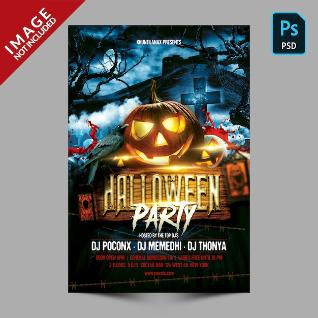 Halloween party flyer of poster sjabloon Premium Psd