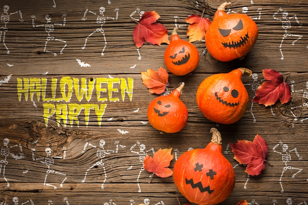 Halloween pompoenen decoratie en skelet tekenen Gratis Psd