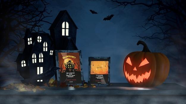 Halloween-regeling met eng pompoen en kadermodel Gratis Psd