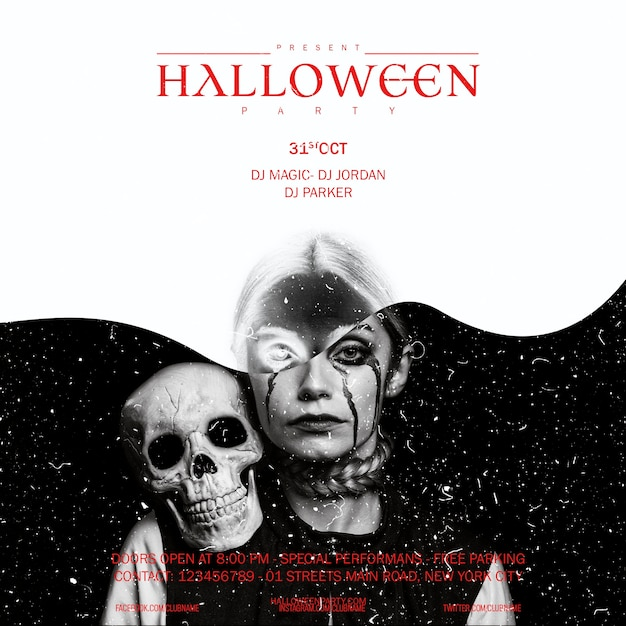 Halloween-samenstellingsvrouw die met schedel in camera kijken Gratis Psd