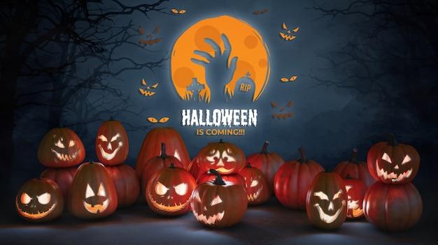 Halloween sta arrivando come un mostro con zucche spaventose Psd Gratuite