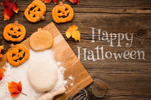 Halloween tratta la pasta e il processo di cottura Psd Gratuite