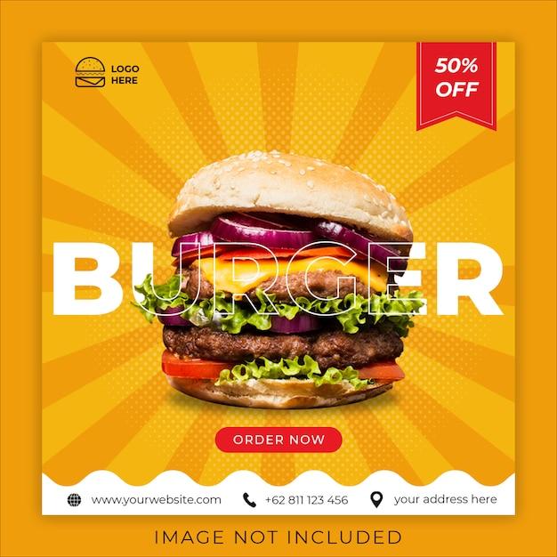Hamburger eten menu promotie sociale media instagram post banner sjabloon Premium Psd