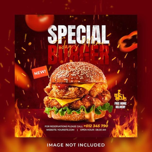 Hamburger eten menu promotie sociale media instagram post-sjabloon voor spandoek Premium Psd
