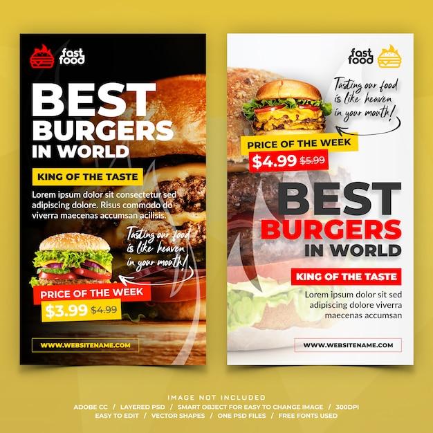 Hamburger eten restaurants instagram verhalen banners Premium Psd
