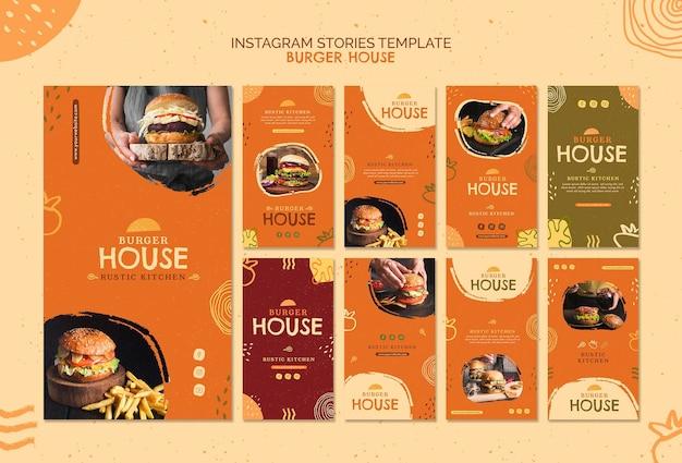 Hamburger huis sjabloon instagramverhalen Gratis Psd
