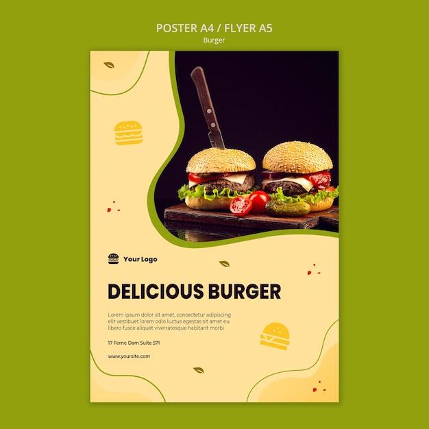 Hamburger poster sjabloon Gratis Psd