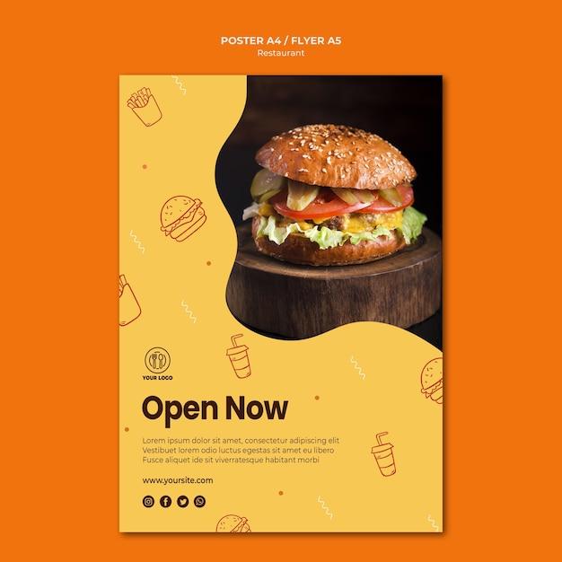 Hamburger restaurant poster sjabloon met foto Gratis Psd