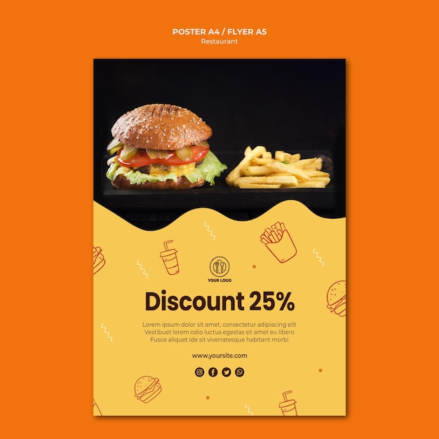 Hamburger restaurant poster sjabloon Premium Psd