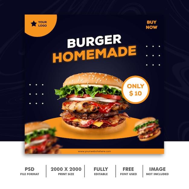 Hamburger vierkante banner voor sociale media Premium Psd