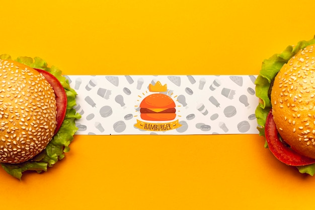 Hamburgerbanner met heerlijke fastfoodburgers Gratis Psd