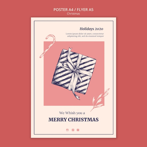 Hand getekend kerst flyer-sjabloon Gratis Psd