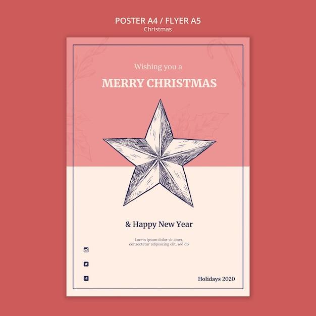 Hand getekend kerst poster sjabloon Gratis Psd