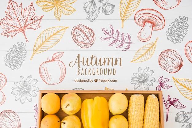 Hand getekend stijl herfst achtergrond Gratis Psd