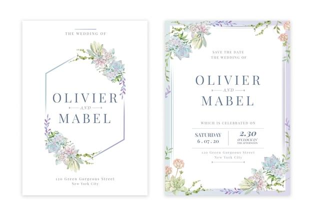 Handgetekende bloemen bruiloft uitnodigingskaart Premium Psd