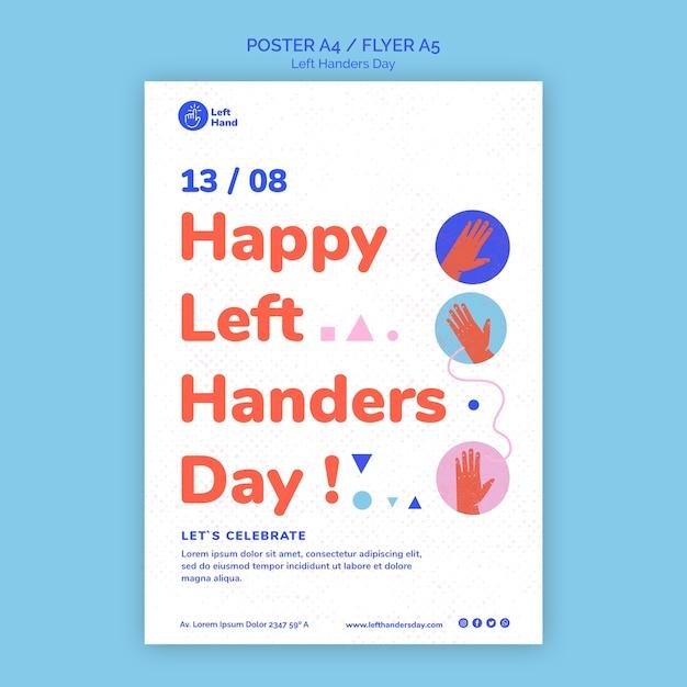 Happy left handers day poster sjabloon Gratis Psd