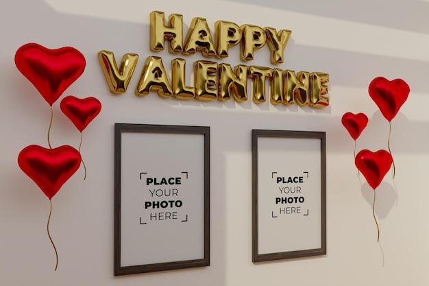 Happy valentijnsdag scène met frame mockup Gratis Psd