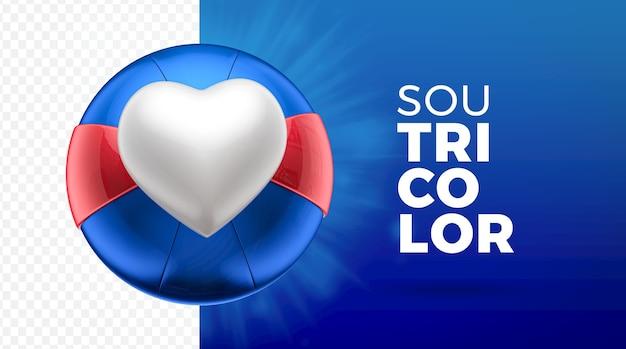 Hart tricolor sport 3d als pictogram Premium Psd