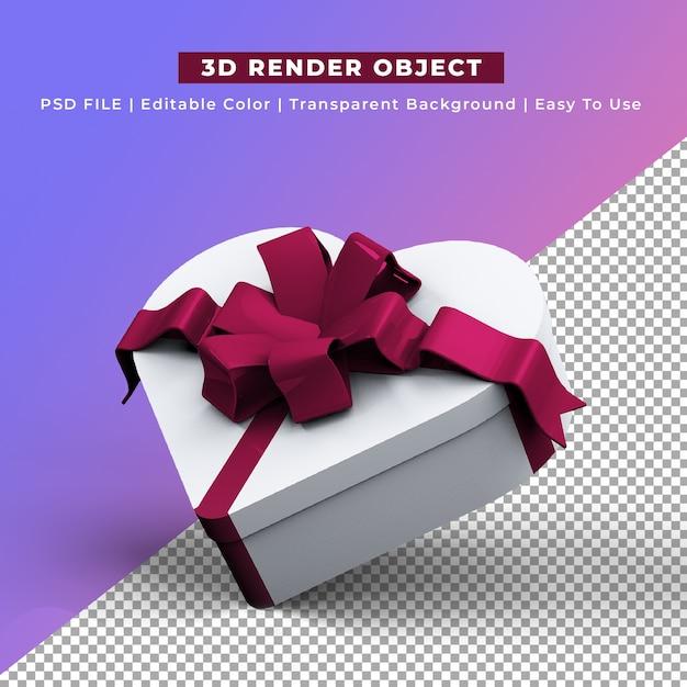 Hart vorm geschenkdoos 3d render Gratis Psd