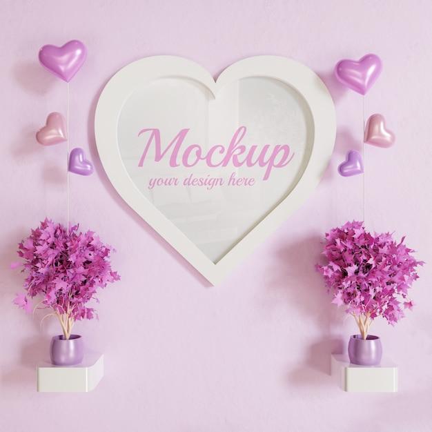 Hartvorm wit frame foto mockup op muur met planten decoratie en hart vormen ballonnen Premium Psd