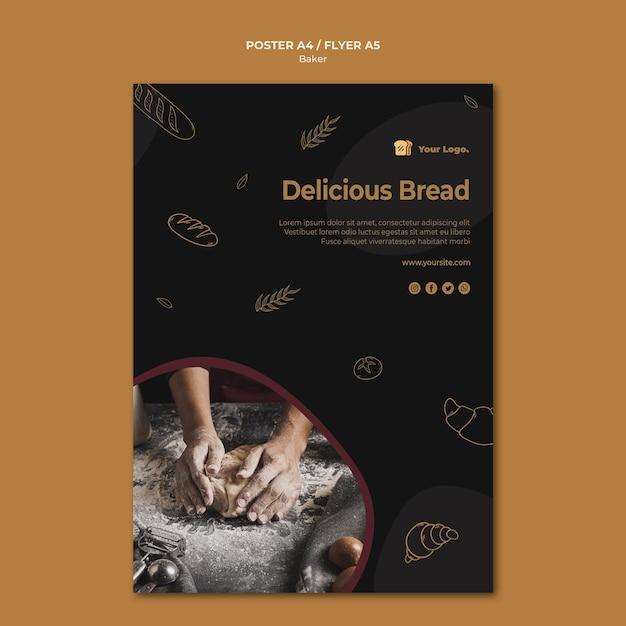 Heerlijk brood poster sjabloon Gratis Psd